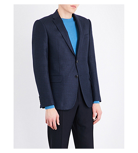 ARMANI COLLEZIONI Checked wool and cashmere-blend jacket (Blue