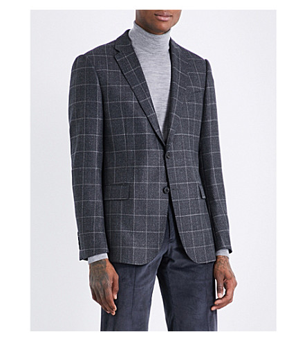 ARMANI COLLEZIONI Checked M-line wool and cashmere-blend jacket (Grey