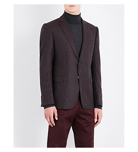 ARMANI COLLEZIONI Checked slim-fit wool jacket (Burgundy