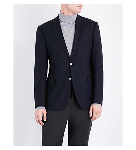 ARMANI COLLEZIONI Single-breasted wool jacket (Navy