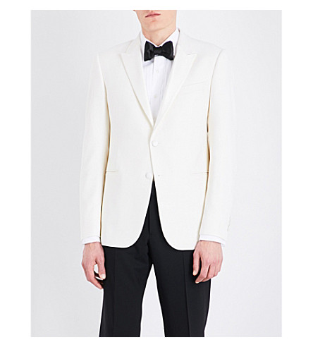 ARMANI COLLEZIONI Slim-fit wool-blend tuxedo jacket (Ivory