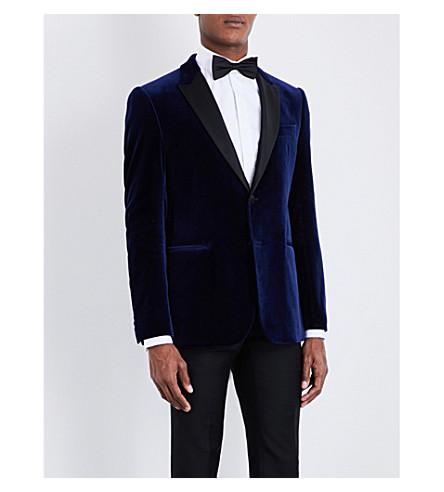 ARMANI COLLEZIONI M-line peak-lapel velvet jacket (Blue