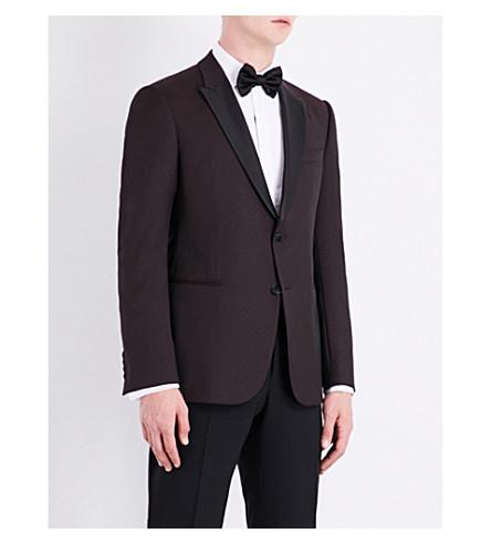 ARMANI COLLEZIONI Polka-dot slim-fit wool jacket (Burgundy