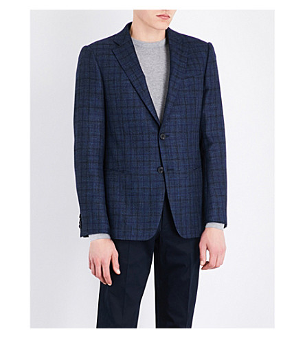 ARMANI COLLEZIONI Slim-fit checked wool-blend jacket (Blue