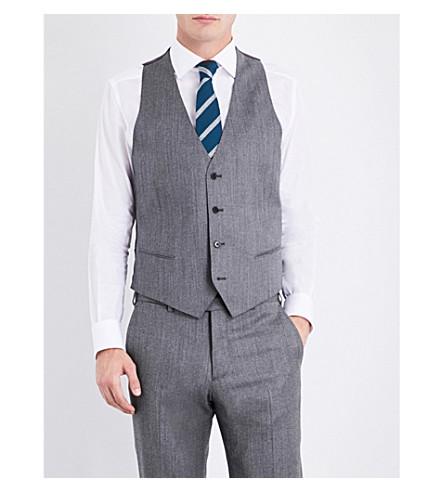 ARMANI COLLEZIONI Mélange stretch-wool waistband (Grey