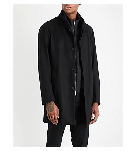 ARMANI COLLEZIONI Detachable gilet wool-blend coat (Black