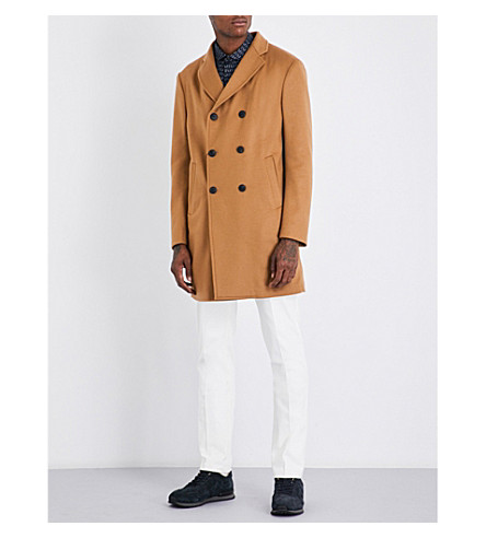 ARMANI COLLEZIONI Classic-fit wool and cashmere-blend coat (Camel