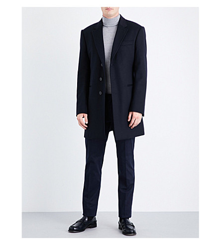 ARMANI COLLEZIONI Classic-fit wool and cashmere-blend coat (Navy