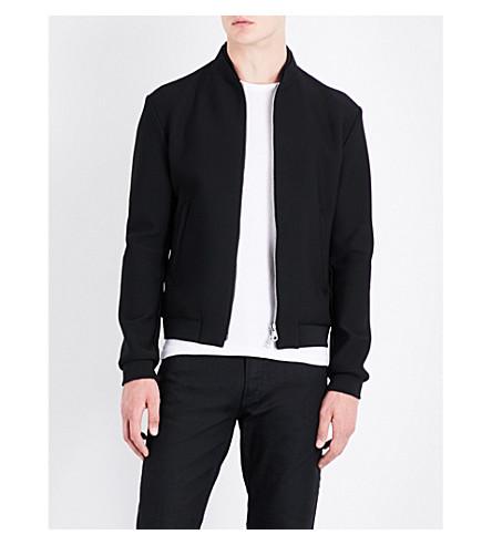 ARMANI COLLEZIONI Stand-collar mesh bomber jacket (Black