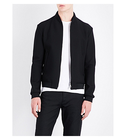 EMPORIO ARMANI Stand-collar mesh bomber jacket (Black