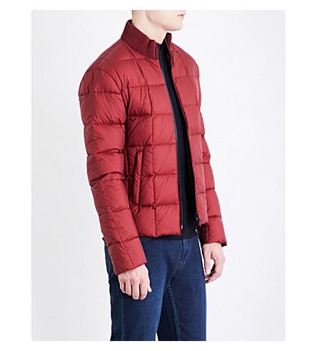 ARMANI COLLEZIONI Funnel-neck shell-down puffer jacket (Red