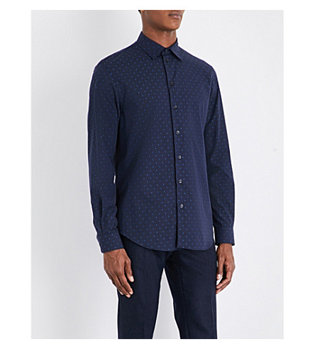 ARMANI COLLEZIONI Polka dot-printed regular-fit cotton shirt (Navy