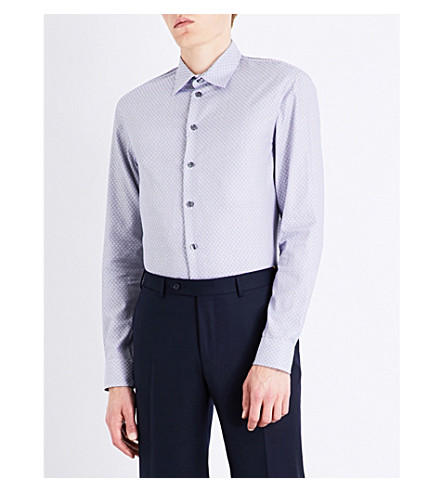 ARMANI COLLEZIONI Slim-fit diamond-pattern cotton shirt (Navy