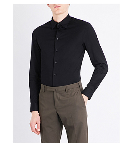 ARMANI COLLEZIONI Modern-fit cotton shirt (Black