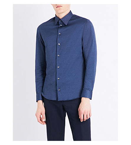ARMANI COLLEZIONI Slim-fit cotton shirt (Navy