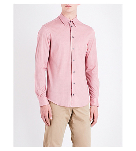 ARMANI COLLEZIONI Geometric slim-fit brushed-cotton shirt (Red
