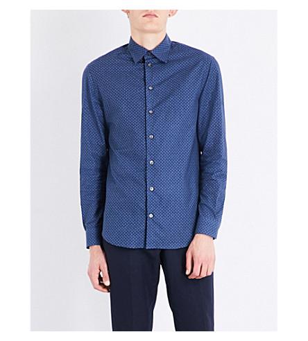 ARMANI COLLEZIONI Diamond-patterned regular-fit cotton shirt (Blue
