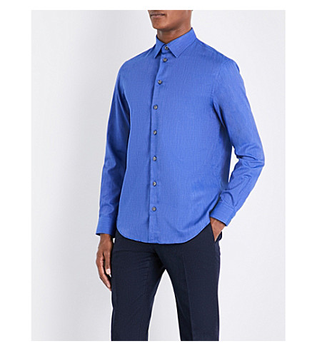 ARMANI COLLEZIONI Stitch-printed regular-fit cotton shirt (Blue