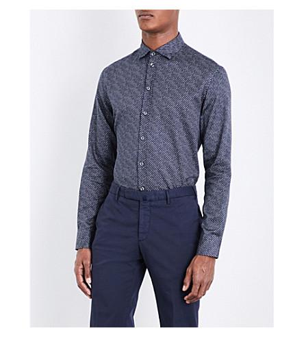 ARMANI COLLEZIONI Striped regular-fit cotton shirt (Blue