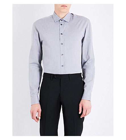 ARMANI COLLEZIONI Regular-fit herringbone cotton shirt (Grey