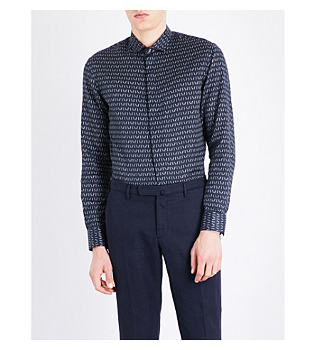 ARMANI COLLEZIONI Line-patterned slim-fit cotton shirt (Navy