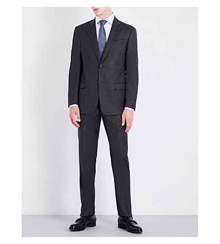 ARMANI COLLEZIONI Tailored-fit wool and cashmere-blend suit (Dark+grey