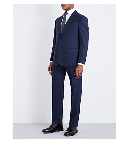 ARMANI COLLEZIONI Micro grid-check G-line virgin wool suit (Navy