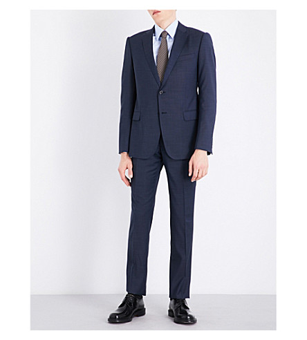 EMPORIO ARMANI Slim-fit wool suit (Blue