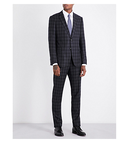 ARMANI COLLEZIONI Academy-fit checked wool suit (Dark+grey