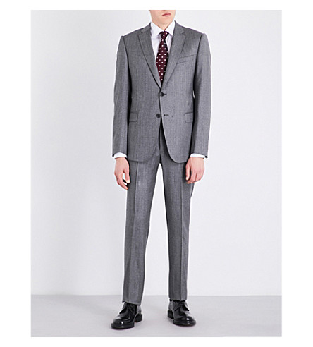 ARMANI COLLEZIONI Tailored-fit wool-blend suit (Grey