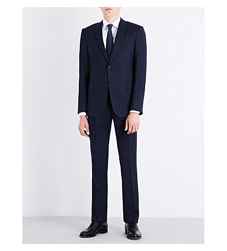 ARMANI COLLEZIONI Slim-fit Prince of Wales check wool suit (Blue