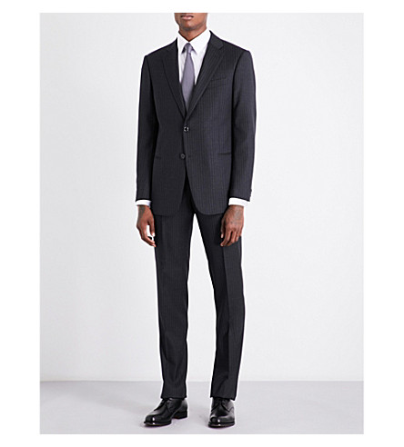 ARMANI COLLEZIONI Academy-fit pinstriped wool suit (Dark+grey