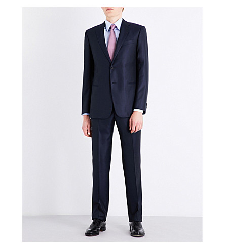 ARMANI COLLEZIONI Academy-fit diamond-patterned wool and silk-blend suit (Navy