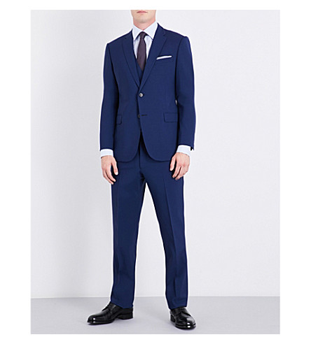 ARMANI COLLEZIONI Three-piece tailored-fit stretch-wool suit (Navy