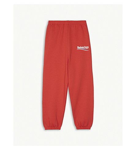 BALENCIAGA Molleton logo-detail cotton-jersey jogging bottoms 2-10 years (Fuchsia