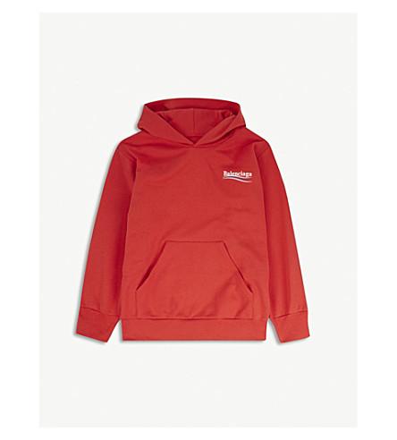 BALENCIAGA Molleton logo cotton-blend hoody 2-10 years (Red