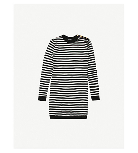 BALMAIN Striped cotton-blend jumper dress 12-14 years (Black/white