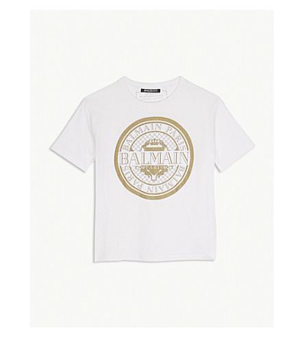 BALMAIN Glitter logo cotton t-shirt 6-14 years (White