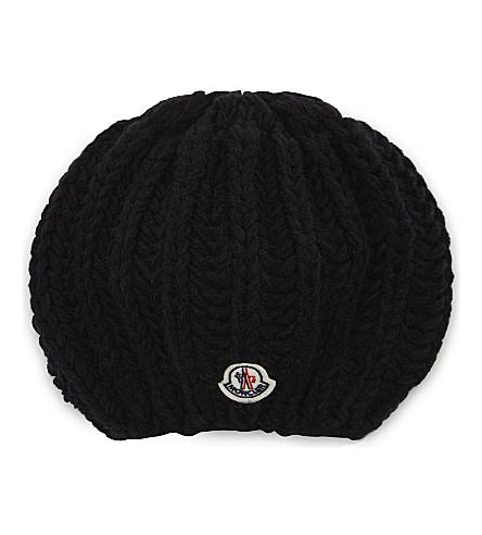 MONCLER Logo wool-blend beanie (Black