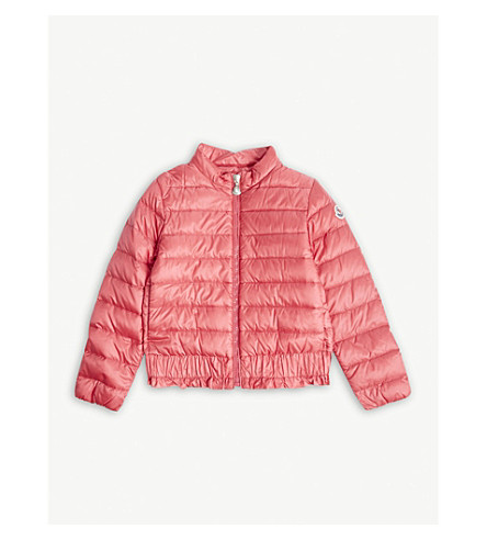 MONCLER Abricot ruffled hem padded coat 4-14 years (Mid+pink