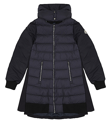 MONCLER Blois virgin wool puffa fronted coat 4-14 years (Navy