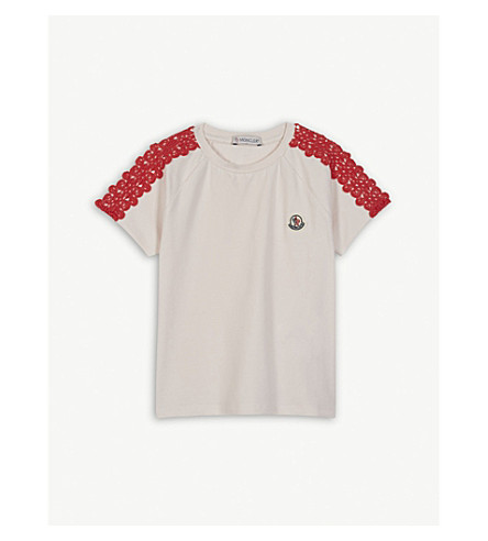 MONCLER Lace trim cotton T-shirt 4-14 years (Pink