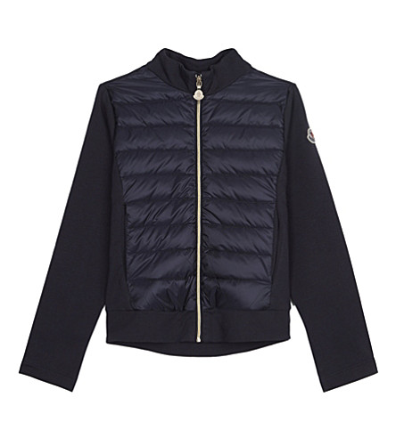 MONCLER Jersey sleeve puffa jacket 4-14 years (Navy
