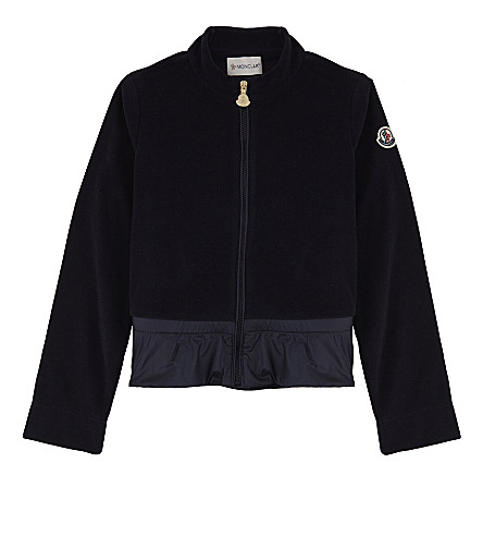 MONCLER Frilled velour tracksuit jacket 4-14 years (Navy