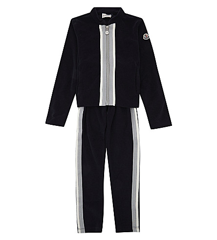 MONCLER Striped trim velour tracksuit 4-14 years (Navy