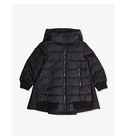 MONCLER Blois wool and nylon quilted coat 4-14 years (Navy