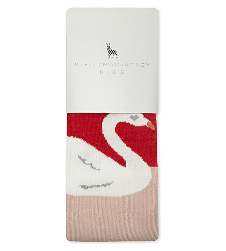 STELLA MCCARTNEY Petra swan cotton tights (Parrot+red