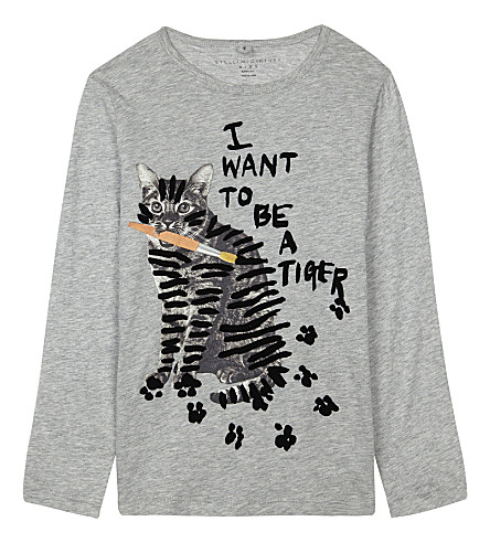 STELLA MCCARTNEY Bella cat print T-shirt 4-16 years (Thunder