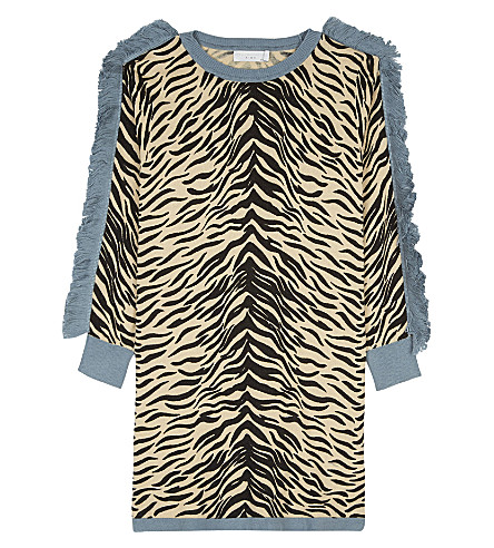 STELLA MCCARTNEY Rita tiger print cotton-wool-blend dress 4-16 years (Tiger+aop