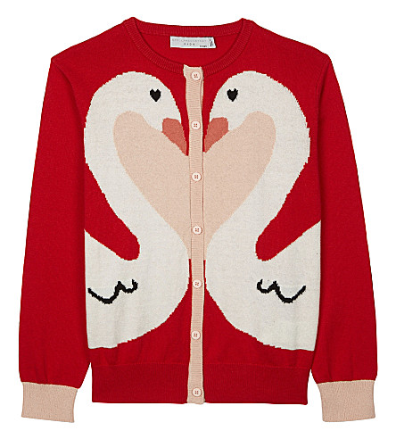 STELLA MCCARTNEY Lauren knitted cotton-wool cardigan 4-16 years (Parrot+red
